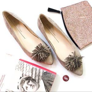 Ecco Grey Suede Tassel Pom Pom Toe Ballet Flats